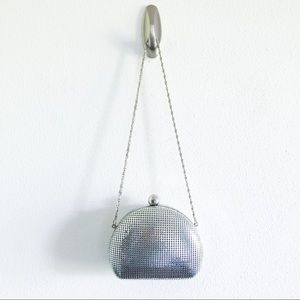 KATE LANDRY silver metal evening bag